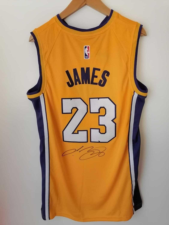 Maglia Lebron James Lakers Los Angeles Autografata Signed Lakers Lebron James Signed Autograph HAnd Signed NBA