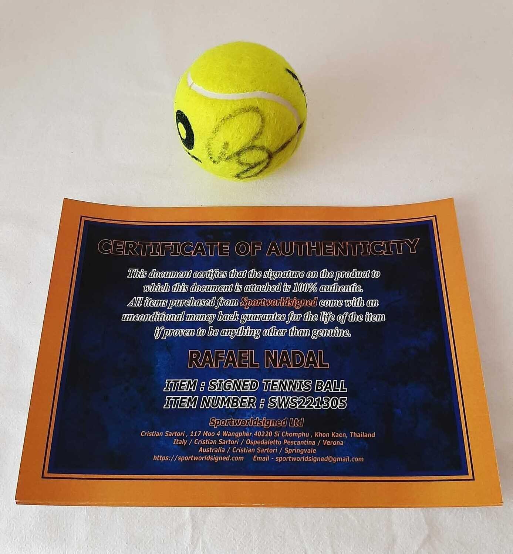Pallina  RAFAEL NADAL  Autografata BALL Signed RAFAEL NADAL  Signed Autograph BALL HAnd Signed Tennis RAFA NADAL