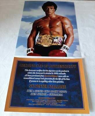 Sylvester Stallone Rocky Foto Autografata Sylvester Stallone Rocky Signed Autograph Hand Signed Sylvester Stallone Rocky