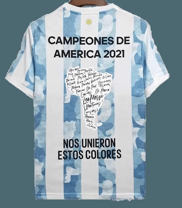 ARGENTINA MAGLIA CASA JERSEY HOME CAMPEONES DE AMERICA 2021 ANNIVERSARIO ANNIVERSARY CELEBRATIVA MAGLIA