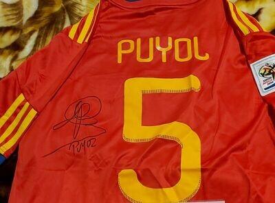 Maglia SPAIN MONDIALI 2010 WORLD CUP  WINNER Portugal Autografata  PUYOL 5  Signed wich COA certificate Portogalllo PUYOL 5 Signed Autograph SPAGNA CAMPIONI DEL MONDO 2010
