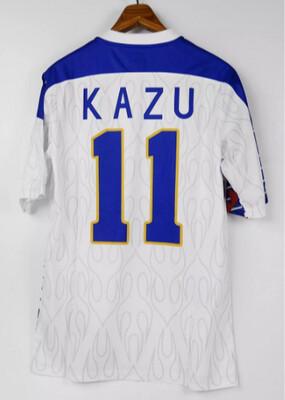 KING KAZU AWAY WHITE KAZUYOHI MIURA 52 YEARS OLD PLAYER Japan 94/98 Tribute MAGLIA CELEBRITA TRIBUTO MIURA 52 ANNI