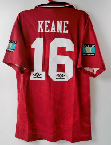 MANCHESTER UNITED MAGLIA CASA JERSEY HOME FINAL FA CUP 1996 KEANE 16