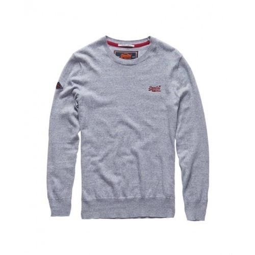 Superdry Orange Label Crew Neck Cashmere Blend Jumper in Grey