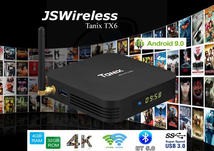 Tanix TX6 TV Box 4K ARM A53 Quad Core Allwinner H6 Android 9.0 Dual Band Wi-Fi 4GB/32GB w/ online TV service