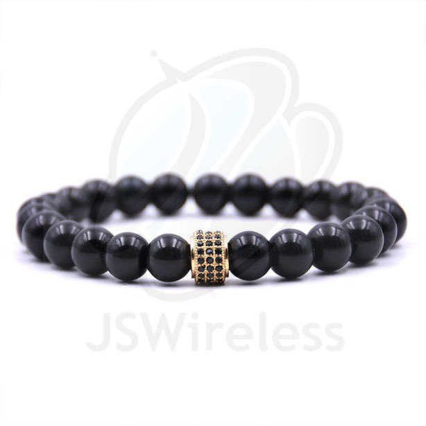 Pave CZ Cylinder Charms Women Bracelet 8mm Natural Stone Beads