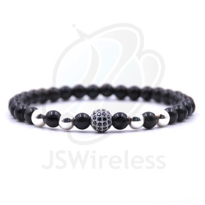 Ball Charms Bracelet Micro Pave CZ For Women 6mm Black Stone Beads