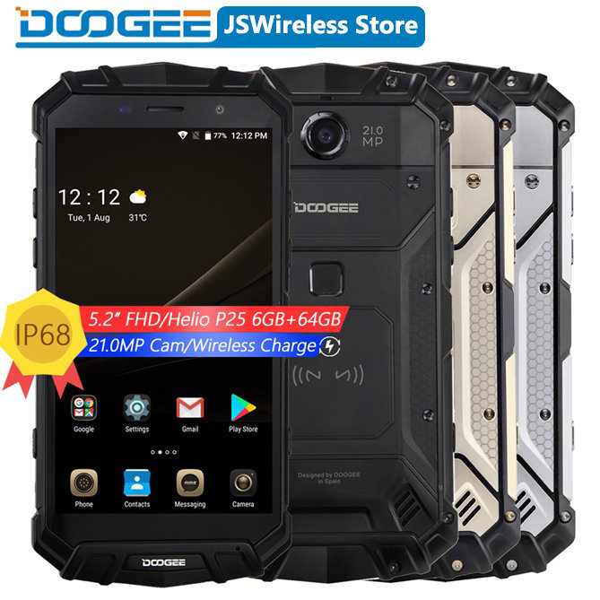DOOGEE S60 Real IP68 Android 7.0 Quick Wireless Charge 5580mAh 12V2A 5.2'' FHD Helio P25 Octa Core 6GB 64GB Smartphone 21.0MP Camera