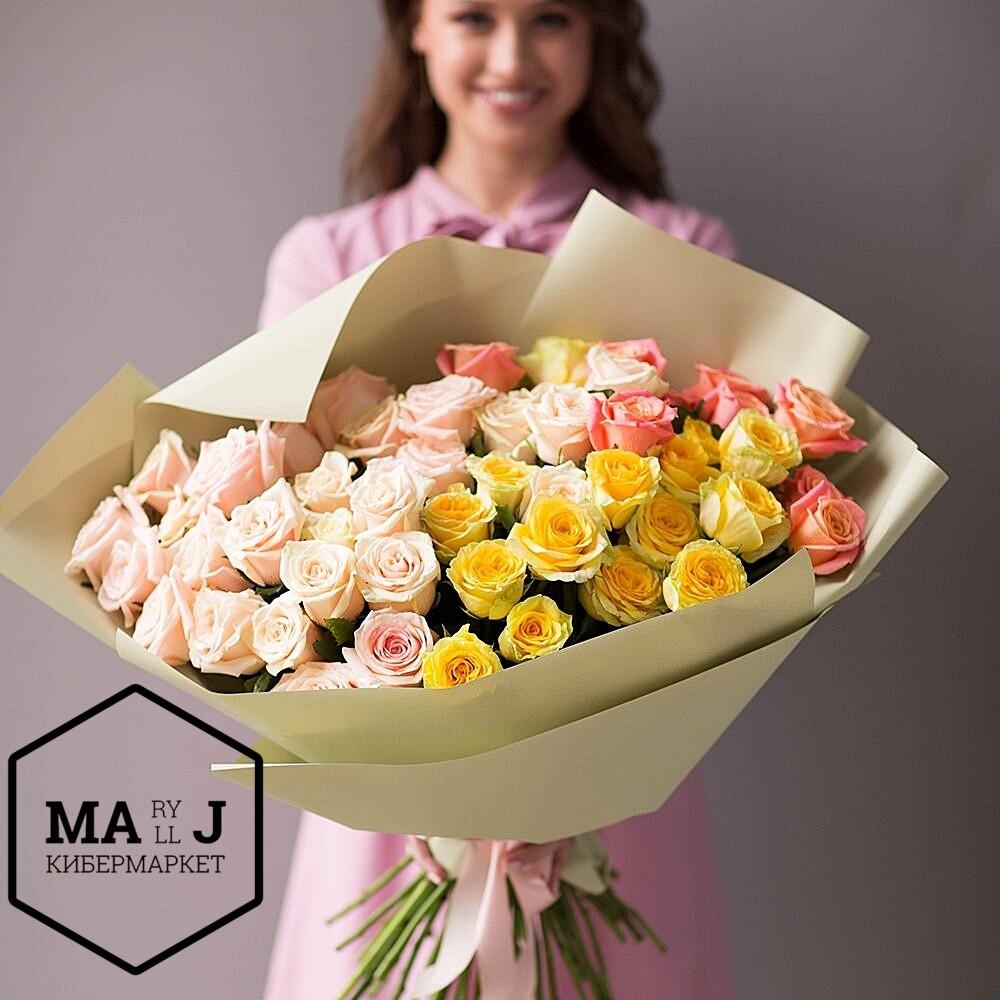 51 трехцветная роза