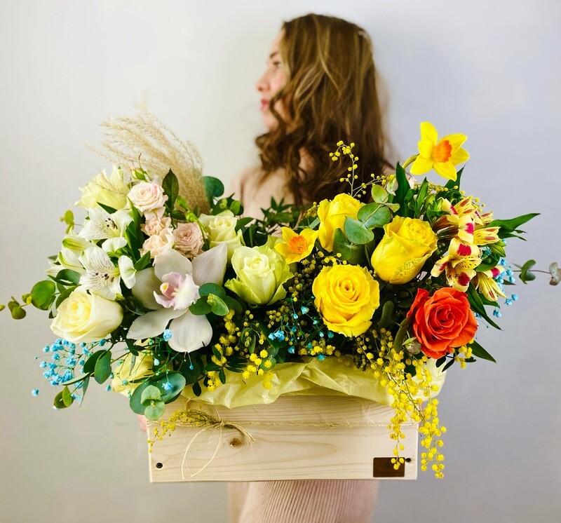 Весенние Цветы в ящике №77