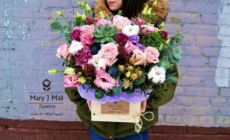 Цветы в деревянном ящике № 70