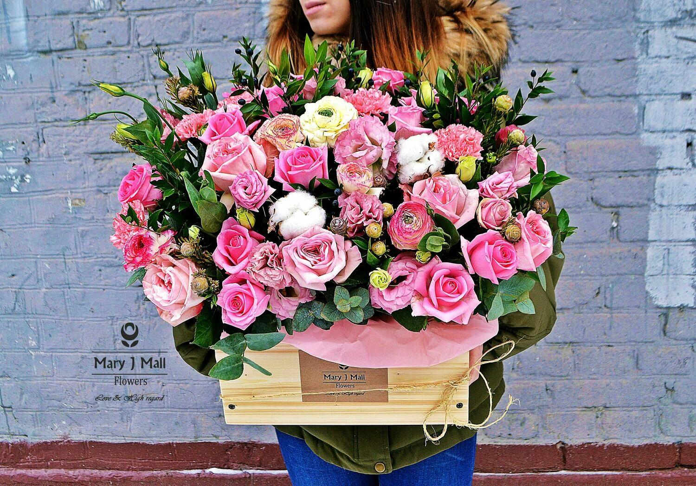 Цветы в деревянном ящике № 45