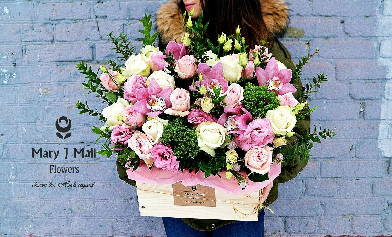 Цветы в деревянном ящике № 46