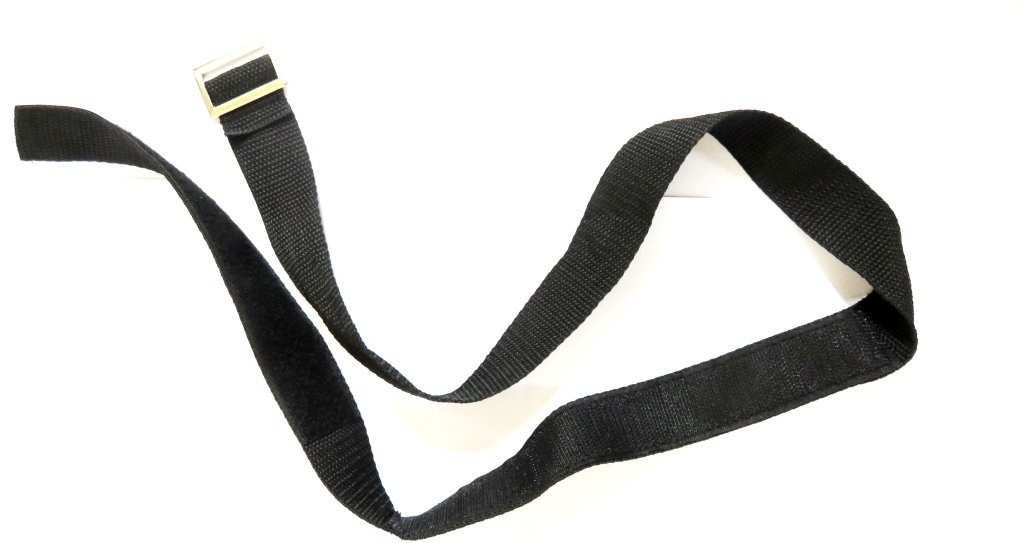 Lower bag strap Buckled Velcro strap