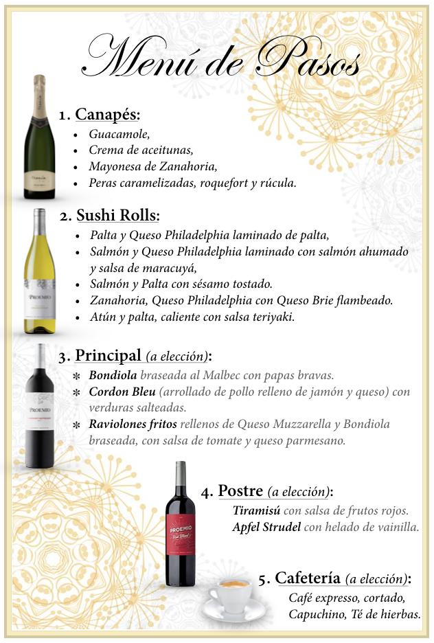 Sábado 24 de Abril 2021, 20hs. Cena por Pasos con Cata de Vinos con Bodega PROEMIO ($3500 x persona)