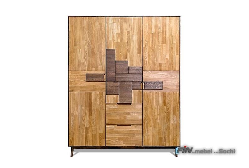 арт. 5042 ДУБ массив Шкаф для одежды 3-х дверный