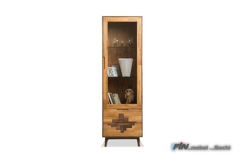 арт. 5054 ДУБ массив Шкаф с витриной 1-но дверный