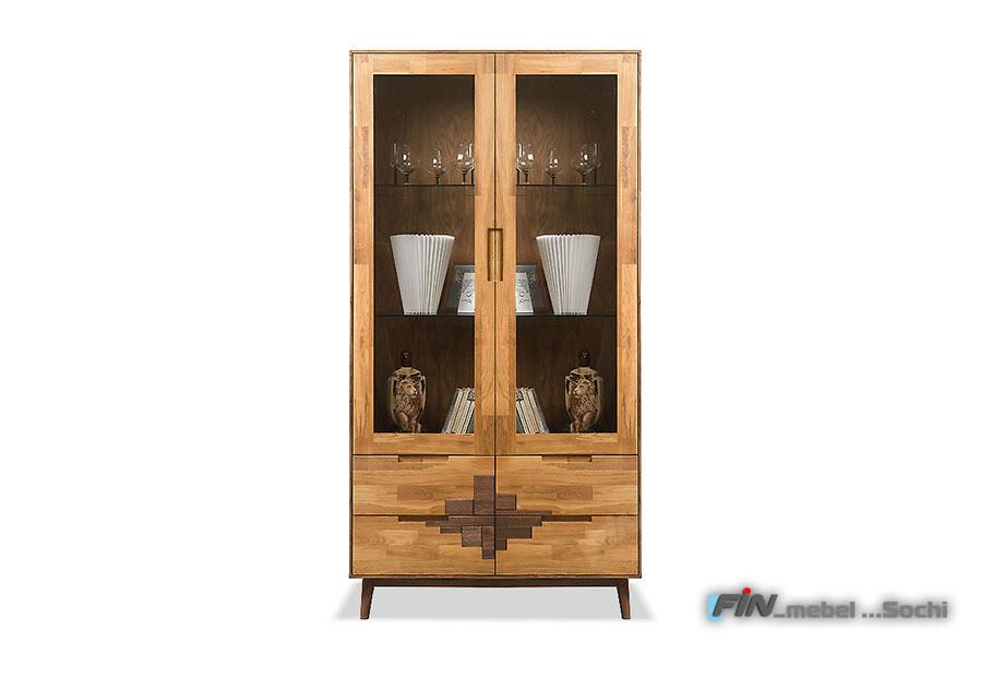 арт. 5055 ДУБ массив Шкаф с витриной 2-х дверный