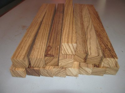 Eighteen (18) Zebrawood Pen Spindle Turning Blanks  1 X 1 X 12