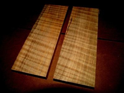2 BEAUTIFUL KILN DRIED CURLY MAPLE KNIFE SCALES ~6 X 2 X 3/8
