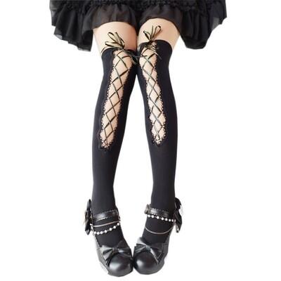 Fashion Japanese Kawaii Gothic Black Thin Socks