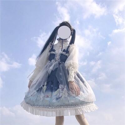 Fashion Japanese Kawaii Lolita Blue Fairy Dress