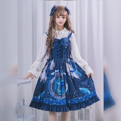 Fashion Japanese Kawaii Lolita Blue Night Princess Dress