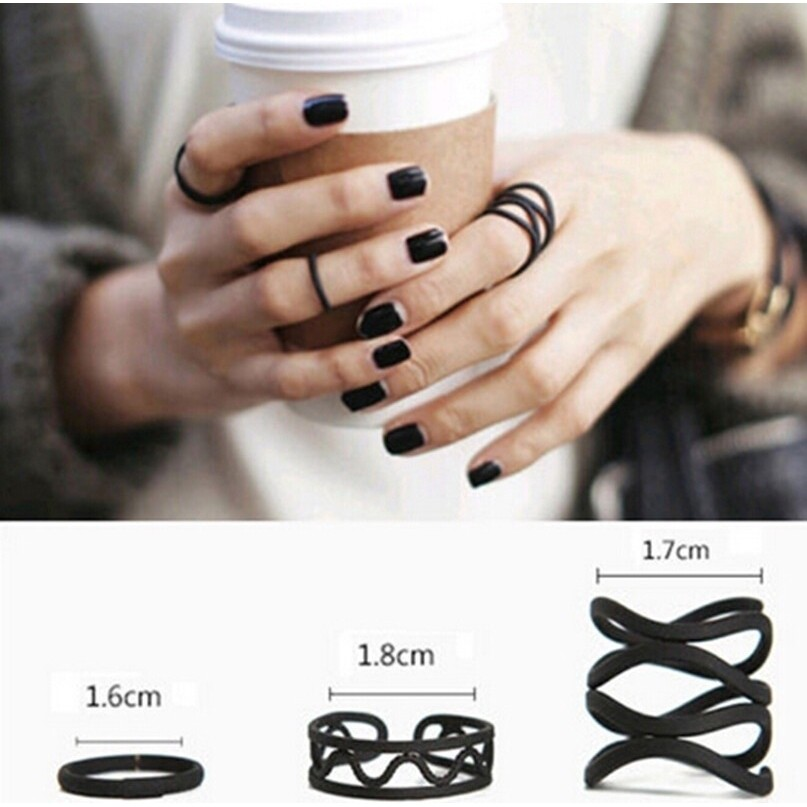 Flye Fashion 3 Pcs Ring Black Paint Trendsetter Womens Punk Knuckle Midi Finger Set