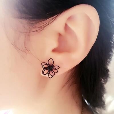 Flye Fashion 1pcs set Gothic Black Flower Design ear stud earrings