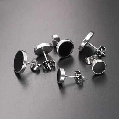Flye Fashion 1pcs Men's Steel Barbel Punk Gothic Stud Earrings Fashion Brand Silver Black Color