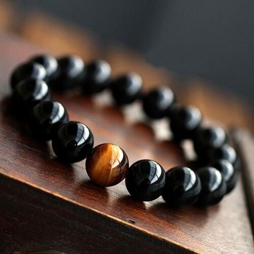 Flye Fashion 1pcs set Men's Women's Vintage Style Jewelry Agate Tiger Eye Beads Bangle Bracelet