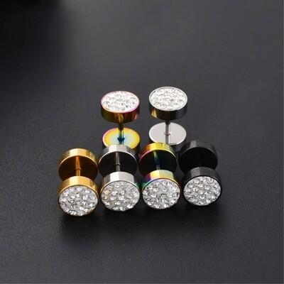 Flye Fashion 1pcs Gothic Stainless Steel Barbell Earrings Ear Studs Crystal Gem Women Men's Punk