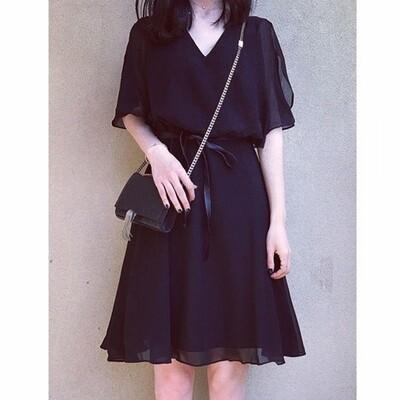 Flye Fashion 1pcs Casual Loose V Neck Half Sleeve Chiffon Black Women Dress