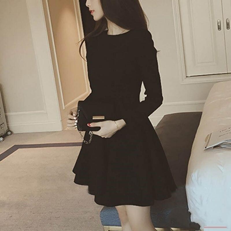Flye Fashion 1pcs Fashion Elegant Women High Waist Slimming Black Dress
