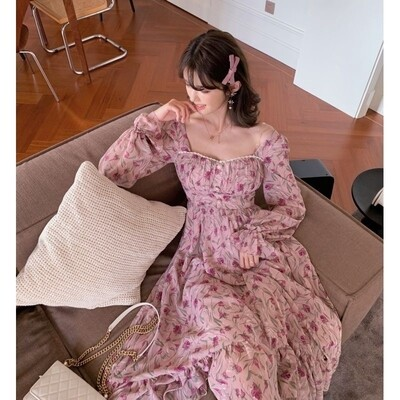 Pinky Spring new French square collar floral long sleeve dress women's maxi  dress