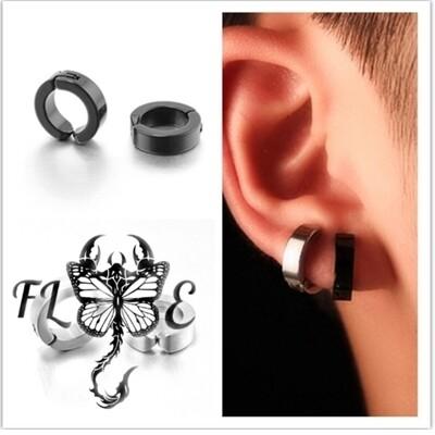 Flye Fashion 1pcs Stainless Steel Non-Piercing Clip On Ear Stud Cuff Hoop Earrings