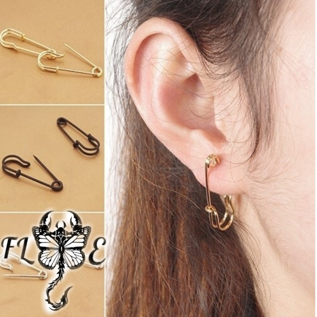 Flye Fashion 1pcs Women's Fashion Safety Pin Ear Studs Clip-On Copper Black Earrings Creative