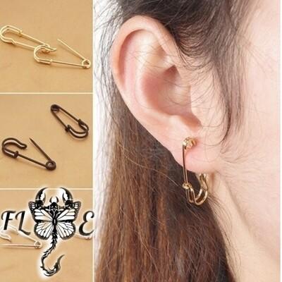 Flye Fashion 1pcs Women's Fashion Safety Pin Ear Studs Clip-On Copper Black Earrings Creative