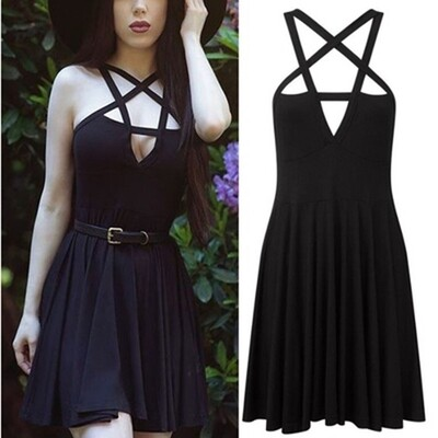 Flye Fashion 1pcs Women Sexy Five-pointed Star Weave Sleeveless Dress Gothic Vintage Romantic