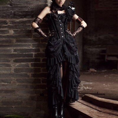 Flye Fashion 1pcs Women Rock Evening Dress Gothic Skirt Ruffle Lolita Lace Party Long Steampunk