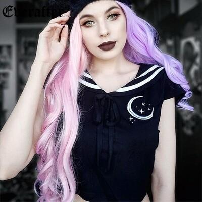 Flye Fashion 1pcs Gothic Punk T-shirts Women Crescent Embroidery Stripe Sailor Collar