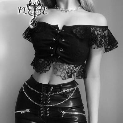 Flye Fashion 1pcs Black Lace T-shirts Mesh Hollow Out Bandage Off Shoulder Gothic
