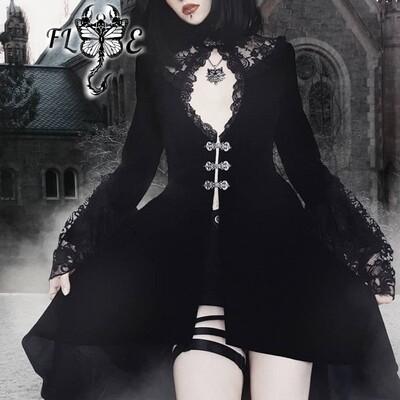 Flye Fashion 1pcs Dark Elegant Lace Gothic Dress Women Long Sleeve Velvet