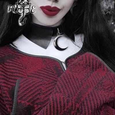 Flye Fashion 1pcs New Design PU Leather Choker Moon Pendant Bondage Gothic