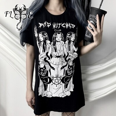 Flye Fashion 1pcs Gothic Black Plus Size Harajuku T-shirt Women Tops Short