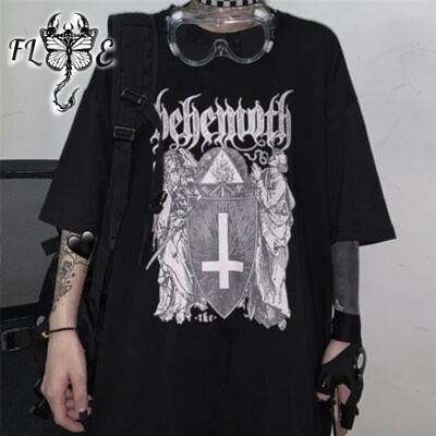 Flye Fashion 1pcs Gothic Style Men Black Printed Loose T-Shirt