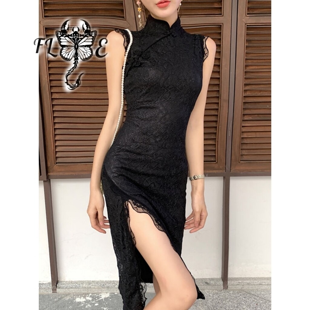 Flye Fashion 1pcs Sexy Retro Slim Sexy Long Temperament Split Cheongsam Black Dress