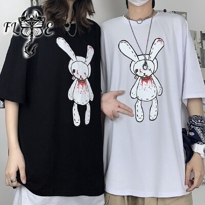 Flye Fashion 1pcs Summer Ins Harajuku Dark Series Bloody Rabbit Print Loose Short Sleeve T-shirt