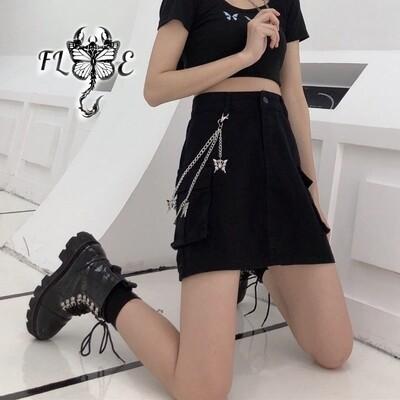 Flye Fashion 1pcs Wild Denim Skirt  Trend Double Layer Chain Pants Chain