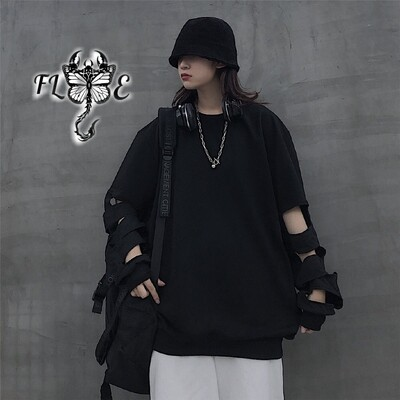 Flye Fashion 1pcs Round Neck Long Sleeve T-shirt  Loose Wild Trend Hollow Out Long Sleeve